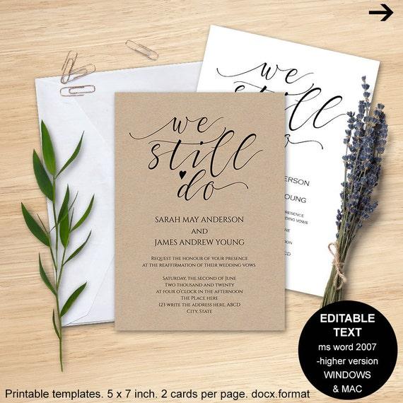 Wedding Invitation Templates Word 2007: Wedding Vows Invitations Vows Invitations Printable Vow