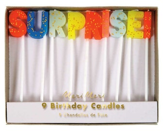 Surprise Candles (12), Meri Meri Cake Toppers, Toot Sweet Birthday Candles, Neon Glitter Candles, Surprise Party Cake Candle, Cake Banner