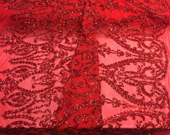 Red royalty design embroider with Sequins On A 2 way stretch-prom-nightgown-decorations-sold by the yard.