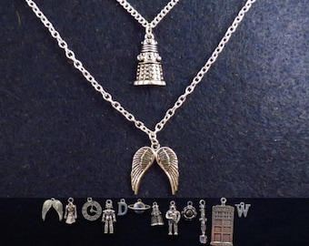 Doctor Who two layered necklace with the charms of your choice