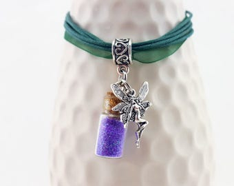 Small Fairy Necklace - Fairy organza necklace - create your own fairy necklace - handmade fairy necklace - fairy jewelry - dancing fairy