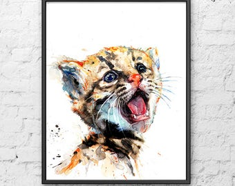 Watercolor painting nursery animal nursery print tiger art print, kids animal art print, african jungle nursery wall decoration - R16