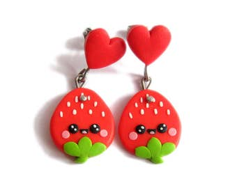 valentines day gifts for kids, valentines day gift for her, strawberry earrings, fruit earrings, fruit jewelry, red earrings, heart earrings