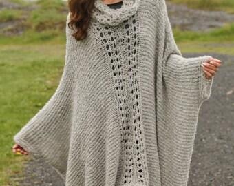 Wool Cape Knitting Pattern : Knit cape Etsy