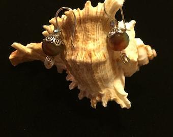 Agata drop  flower earrings dangle silver plaited