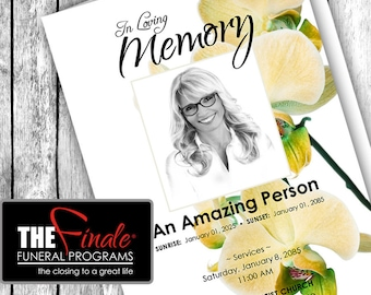 Yellow Orchids ... (printable funeral program template) Microsoft Word Template
