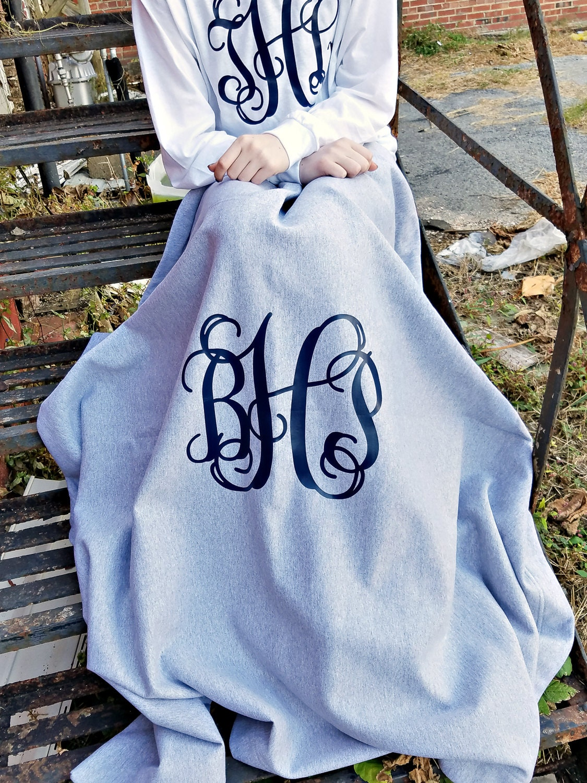 Monogram Blanket Monogrammed Fleece Throw Gift For Her