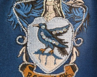 Harry Potter Ravenclaw Class Cardigan with Bead Embroidered Patch, Size Large