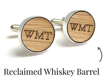 Whiskey Barrel Cufflinks / 5 Year Anniversary Gift for Him / Anniversary Gift for Husband / Gift for Boyfriend / Monogram Cufflinks