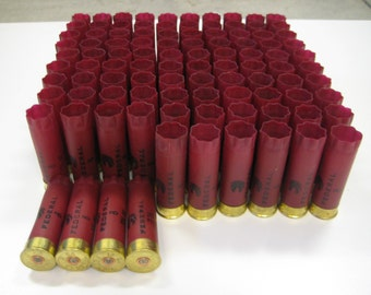 "Huge Lot 100 Empty Shotgun Shells/Hulls 12 gauge Federal(Burgundy) 2 3/4"" with brass plated head stamp for multiple craft creations"