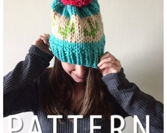Knit cacti hat pattern | Chunky knit hat pattern | DIY Cacti hat pattern | Cactus hat pattern | Women's Hat pattern | Knit beanie pattern