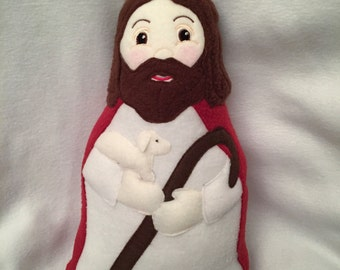 Jesus the Good Shepherd Doll Handmade Soft Saint Doll, Jesus Doll,  Soft and Perfect for little ones to Snuggle with.