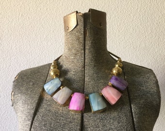 Vintage Necklace - Hollow Brass and Mother of Pearl Bib Collar