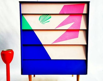 Chest of Drawers / Mid Century Dresser/ Four drawer Chest / Dresser/ Dressing Table/ Hand painted Chest of Drawers/ Geometric /Retro Chest