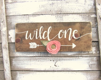 Wild One Wood Sign // Woodland Arrow Nursery Decor // Baby Girl Floral woodland // Hand Lettered // Hand Painted