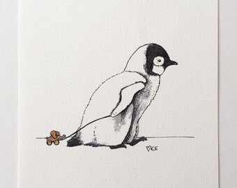 Penguin print animal illustration nursery wall art decor childrens painting
