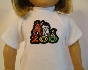 Zoo Animals T Shirt for American Girl Doll and 18-inch Dolls – White Knit Zoo Shirt