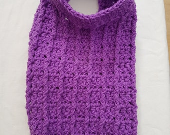 Purple ribbed  dog sweater/dog coat with underbelly strap