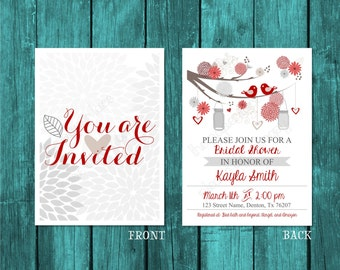 Wedding Shower Invite, Baby shower invite, Red, white, and gray invitation featuring flowers and birds, Digital download