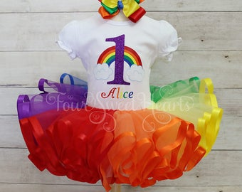 Rainbow Birthday Outfit, Over the Rainbow Outfit, Wizard of Oz Outfit, Rainbow Dress, Rainbow Tutu, Girls Rainbow Dress, Rainbow Birthday