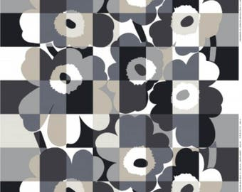 Marimekko Unikko fabric, half yard, 18 x 56 inches, black gray white from Finland