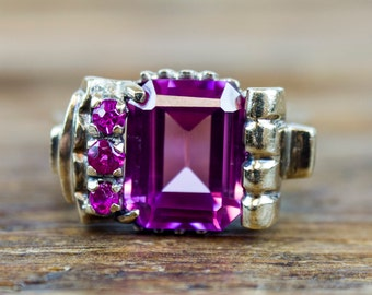 Retro Pink Sapphire & Spinel Ring 14k Gold