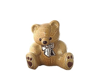 Wade Pottery Teddy Bear Ceramic Bank    Light Brown and Silver Bow Tie