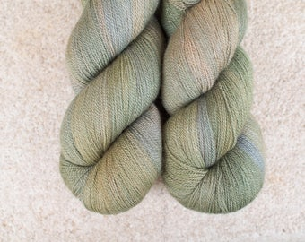 Hand Dyed 80/20 Extra Fine Merino/Silk Lace Weight Yarn - 2ply - 100 grams - 800m/880yards - Olive