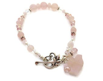 Rose Quartz Bracelet, Pink Gemstone Bracelet, Bird Jewelry, Unique Gift Bracelet, Women's Handmade Jewelry Gift Under 20 for Wife, Sister