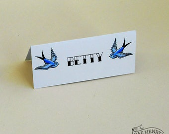 10 Blue Swallows Place Cards Personalised or Blank Tattoo Rockabilly Wedding Name Cards Place Setting
