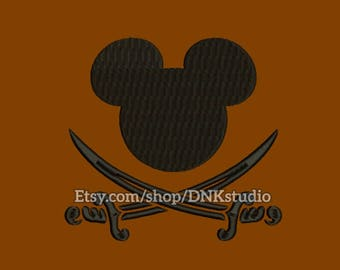 Mickey Mouse Pirate Embroidery Design - 6 Sizes - INSTANT DOWNLOAD