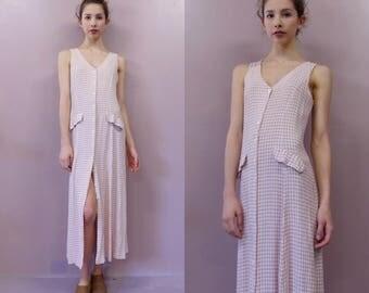 90s Plaid A Line Maxi Dress//vintage peach plaid sundress hippie hippy boho...Made in USA