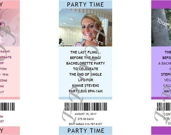 Bachelorette Party Photo Ticket Invitations- Authentic & Personalized- QTY 20