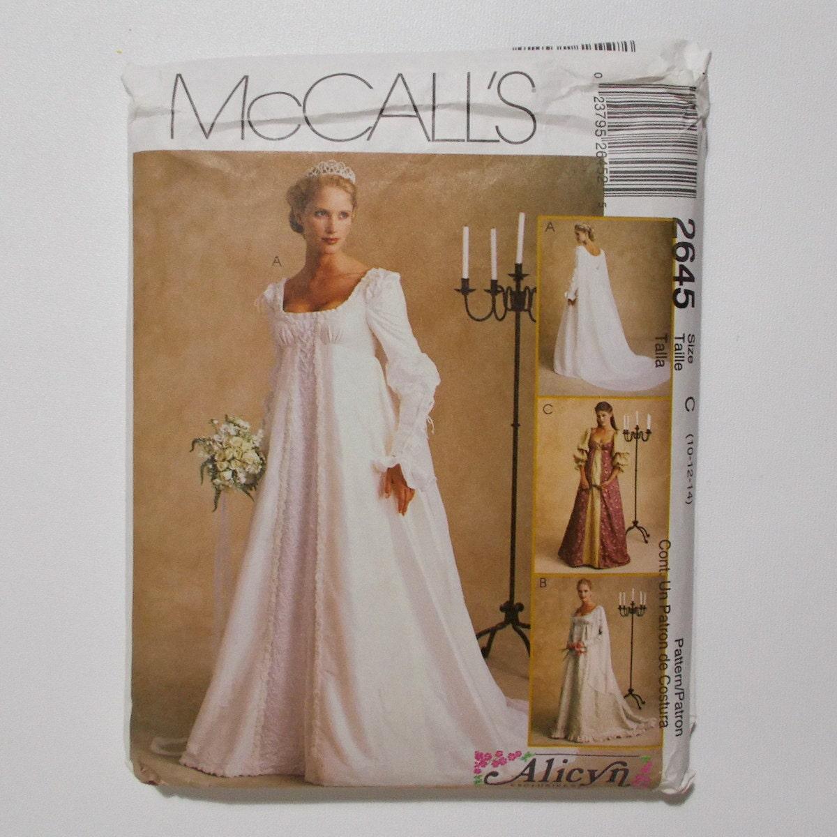 Renaissance Faire Wedding Dress Gown Costume History Mccalls: McCalls 2645 Renaissance Bridal Gown Pattern Ren Faire Wedding