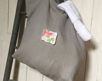 Lovely Spacious Grey Linen Bag
