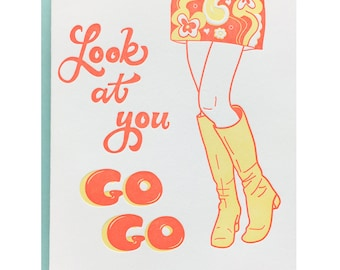 Letterpress Graduation Card, Congratulations, Funny, GoGo Boots, Pun Punny, 60s Retro Mod, Orange Yellow, Promotion New Job