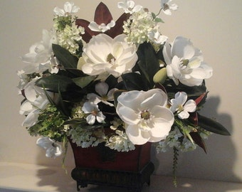 Floral Arrangement, Magnolia Floral Centerpiece, Elegant Luxury Real Touch Flowers SHIPPING INCLUDED Dining Table, Foyer,Floral Home Décor