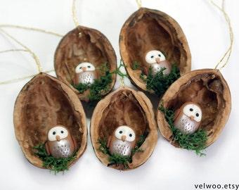 nutshell owl ornament - woodland Christmas ornament - polymer clay owl