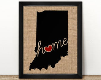 "Indiana (IN) ""Love"" or ""Home"" Burlap or Canvas Paper State Silhouette Wall Art Print / Home Decor (Free Shipping)"