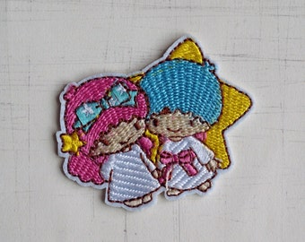 6.1 x 4.3 cm, Little Twin Star Iron On Patch (P-472)