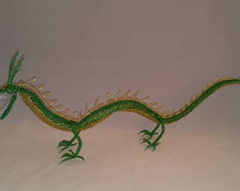 Chinese Dragon. Wire dragon. Handmade dragon. Green dragon