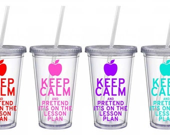 Keep Calm Teacher Tumbler with straw Personalized, Teacher Gift, Personalized Cup,  Teacher Apple, Teacher Appreciation 16 oz Teacher Cup