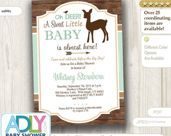 Little Deer Baby Neutral Shower Invitation,Oh Deer, fawn A little baby is almost here, mint green, brown,arrow, Forest, hunter -aa89bs