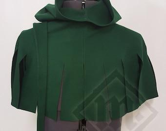 Dark Green Hand Sewn Dagged Hood
