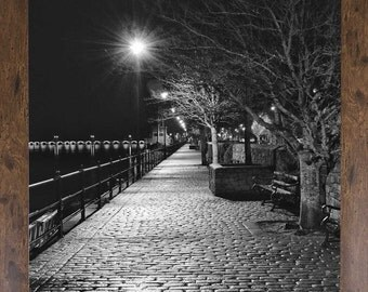 Black and White print, Bideford North Devon Print, Night print, A print of a path that runs alongside a river in Bideford,