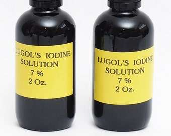 Lugols Iodine / 7% Solution / 4 Oz . in an Amber Glass Bottle / Dropper /