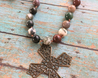 Cross Pendant Long Necklace, Agate Beads, Leather Cording, Knotted Necklace, Knotted Beads, Gold Cross, Beaded Long Necklace