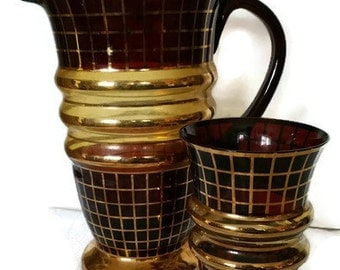 Vintage Blown Glass Jug And Drinking Glass Burgundy With Gold /Made In Czechoslovakia