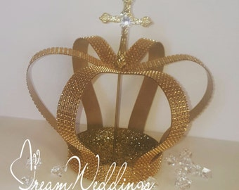 "9"" tall gold crown centerpiece,large crown,bling crown, rhinestones crown, handmade, cardstock,christening, baptism, royal prince, Birthdays"