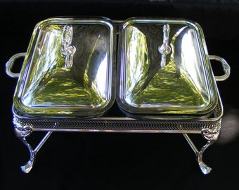 Silverplate Double Chafing Buffet Covered Casserole Warming Service Marinex Brazil Glass Serving Dish Tealight Votive Candle or Sterno Heat